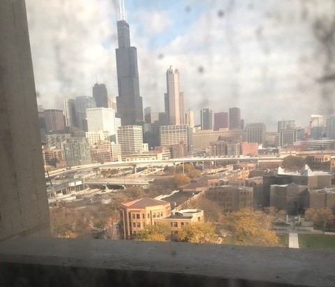 UIC faculty's mud covered view from an office inside University Hall.