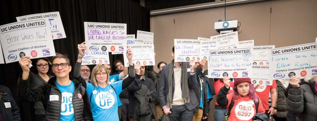 Faculty, grad students, nurses and service employees rally to show U of I's Board what UIC Unions United looks like.